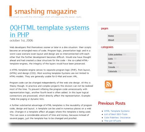 Smashing Magazine en Octubre de 2006