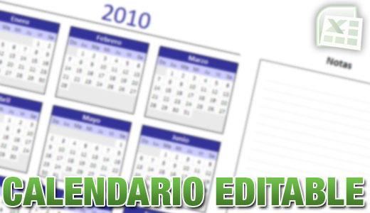 Calendario editable en Excel